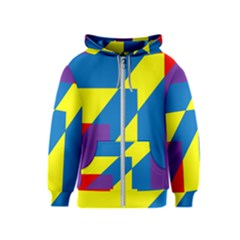 Colorful Red Yellow Blue Purple Kids  Zipper Hoodie