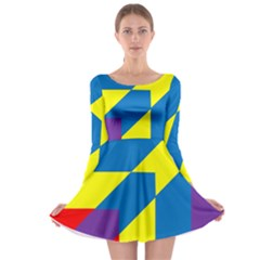 Colorful Red Yellow Blue Purple Long Sleeve Skater Dress