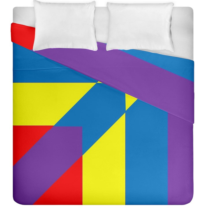Colorful Red Yellow Blue Purple Duvet Cover Double Side (King Size)
