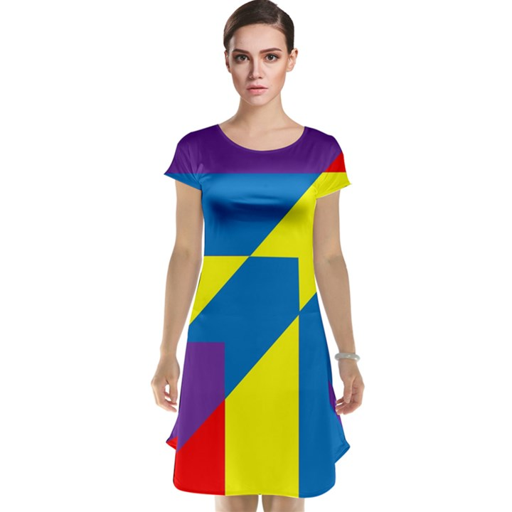 Colorful Red Yellow Blue Purple Cap Sleeve Nightdress