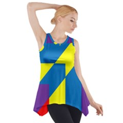 Colorful Red Yellow Blue Purple Side Drop Tank Tunic