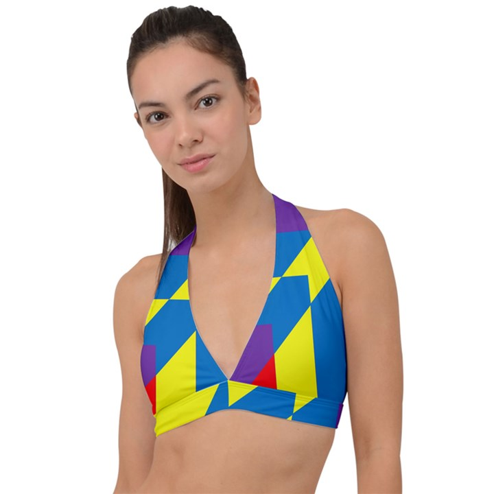 Colorful Red Yellow Blue Purple Halter Plunge Bikini Top