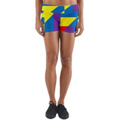 Colorful Red Yellow Blue Purple Yoga Shorts