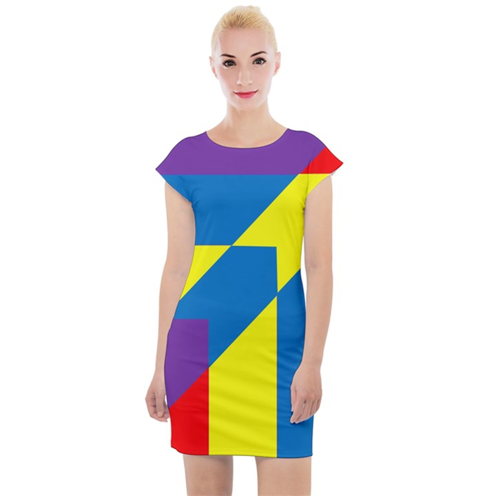Colorful Red Yellow Blue Purple Cap Sleeve Bodycon Dress