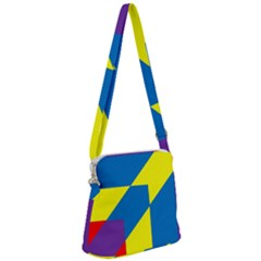 Colorful Red Yellow Blue Purple Zipper Messenger Bag by Sapixe