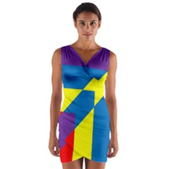 Colorful Red Yellow Blue Purple Wrap Front Bodycon Dress