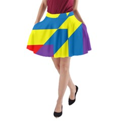 Colorful Red Yellow Blue Purple A Line Pocket Skirt