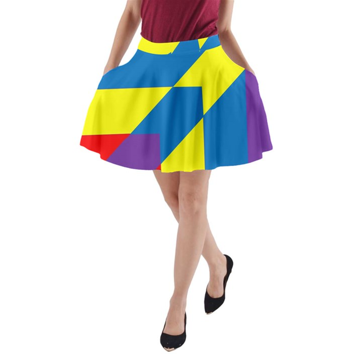 Colorful Red Yellow Blue Purple A-Line Pocket Skirt