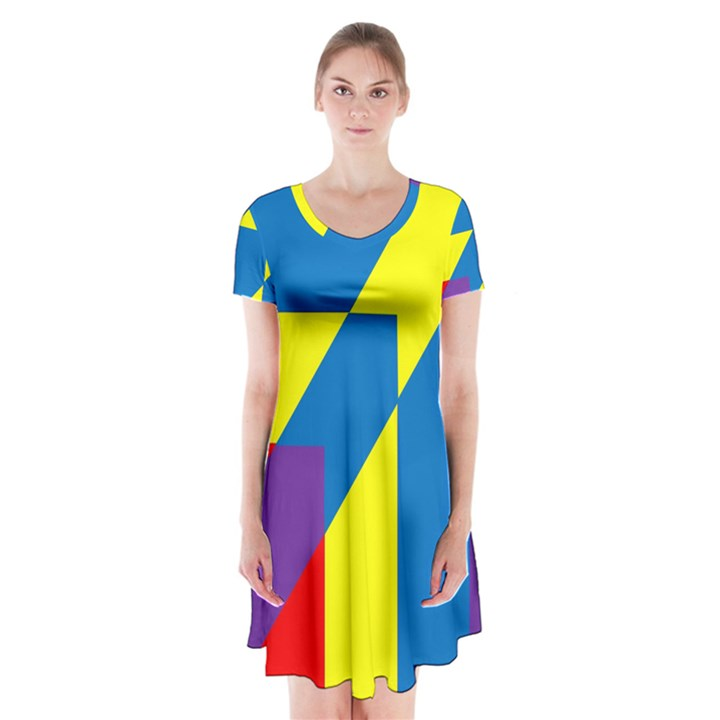 Colorful Red Yellow Blue Purple Short Sleeve V-neck Flare Dress