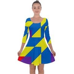 Colorful Red Yellow Blue Purple Quarter Sleeve Skater Dress