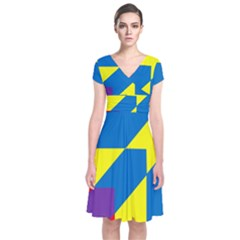 Colorful Red Yellow Blue Purple Short Sleeve Front Wrap Dress by Sapixe