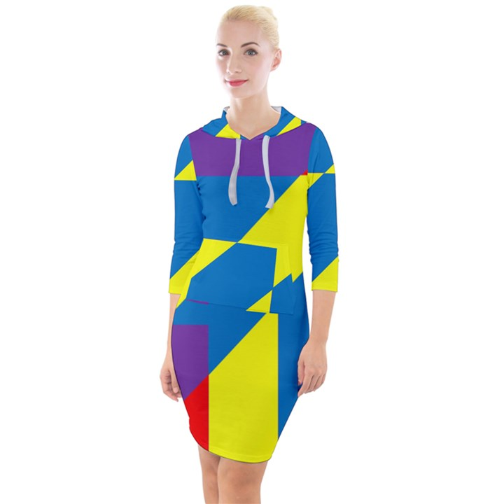 Colorful Red Yellow Blue Purple Quarter Sleeve Hood Bodycon Dress