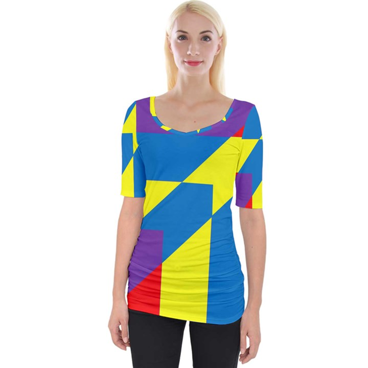 Colorful Red Yellow Blue Purple Wide Neckline Tee