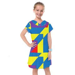 Colorful Red Yellow Blue Purple Kids  Drop Waist Dress