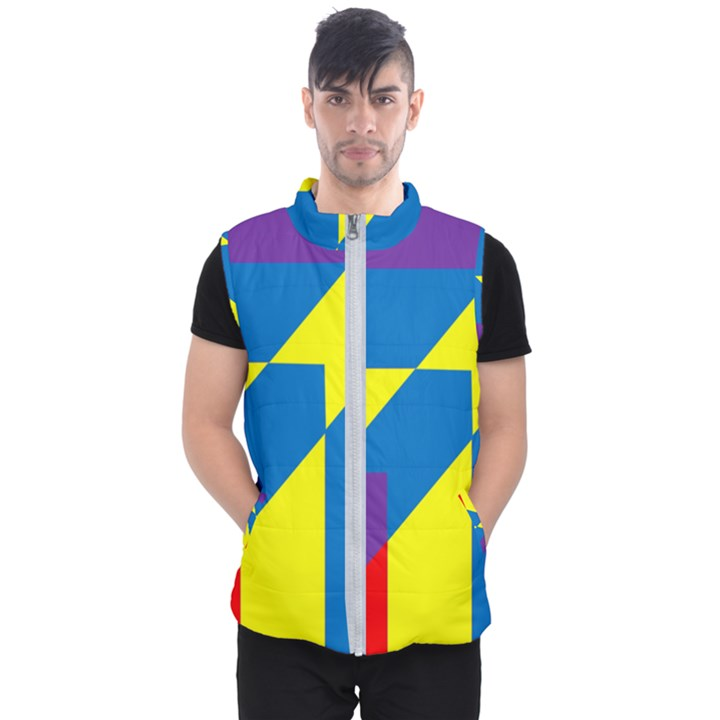 Colorful Red Yellow Blue Purple Men s Puffer Vest