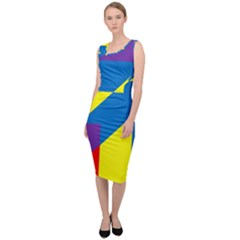 Colorful Red Yellow Blue Purple Sleeveless Pencil Dress by Sapixe