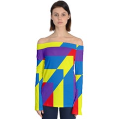 Colorful Red Yellow Blue Purple Off Shoulder Long Sleeve Top by Sapixe