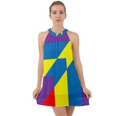 Colorful Red Yellow Blue Purple Halter Tie Back Chiffon Dress