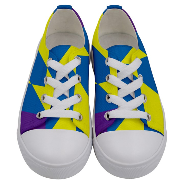 Colorful Red Yellow Blue Purple Kids  Low Top Canvas Sneakers