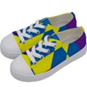 Colorful Red Yellow Blue Purple Kids  Low Top Canvas Sneakers View2