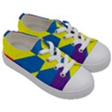 Colorful Red Yellow Blue Purple Kids  Low Top Canvas Sneakers View3