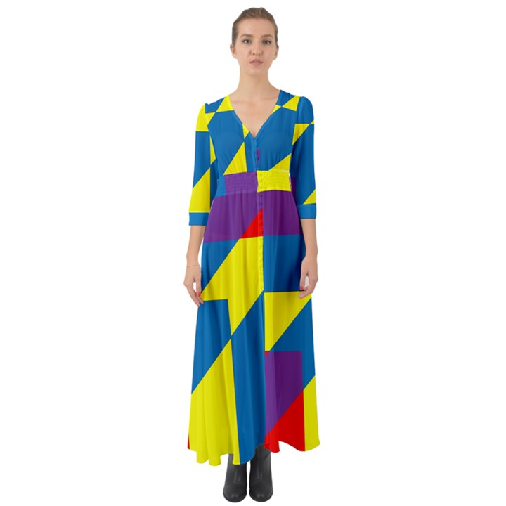 Colorful Red Yellow Blue Purple Button Up Boho Maxi Dress