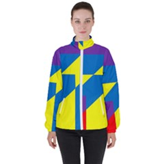 Colorful Red Yellow Blue Purple Women s High Neck Windbreaker by Sapixe