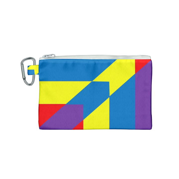 Colorful Red Yellow Blue Purple Canvas Cosmetic Bag (Small)