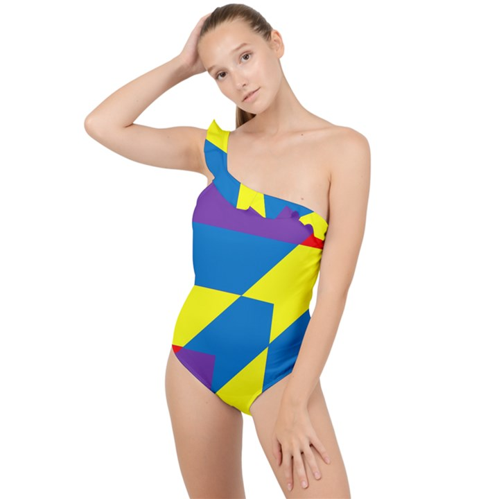 Colorful Red Yellow Blue Purple Frilly One Shoulder Swimsuit