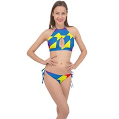 Colorful Red Yellow Blue Purple Cross Front Halter Bikini Set by Sapixe
