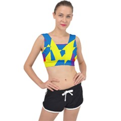Colorful Red Yellow Blue Purple V Back Sports Bra by Sapixe