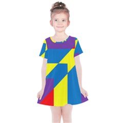 Colorful Red Yellow Blue Purple Kids  Simple Cotton Dress by Sapixe