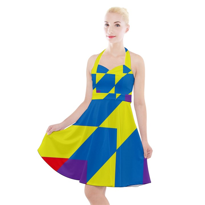 Colorful Red Yellow Blue Purple Halter Party Swing Dress