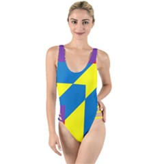 Colorful Red Yellow Blue Purple High Leg Strappy Swimsuit