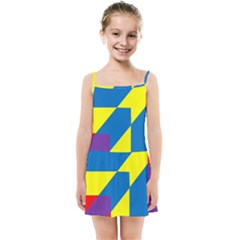 Colorful Red Yellow Blue Purple Kids  Summer Sun Dress by Sapixe