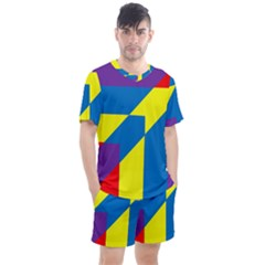 Colorful Red Yellow Blue Purple Men s Mesh Tee And Shorts Set by Sapixe
