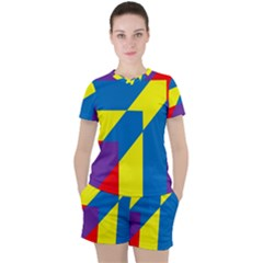 Colorful Red Yellow Blue Purple Women s Tee And Shorts Set by Sapixe