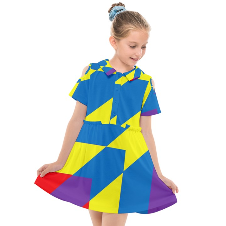 Colorful Red Yellow Blue Purple Kids  Short Sleeve Shirt Dress