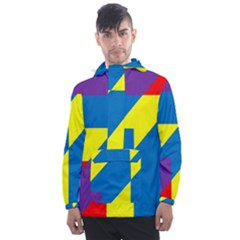 Colorful Red Yellow Blue Purple Men s Front Pocket Pullover Windbreaker
