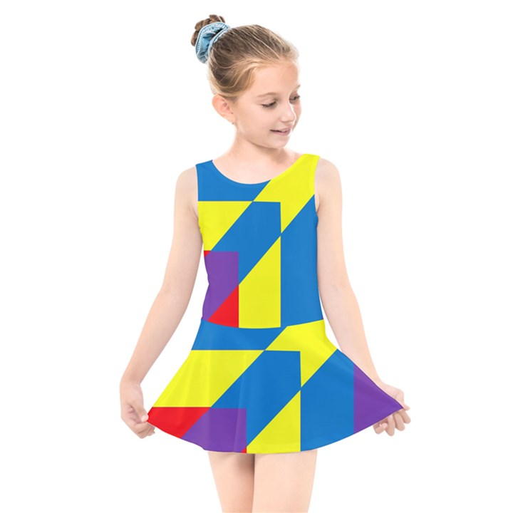 Colorful Red Yellow Blue Purple Kids  Skater Dress Swimsuit