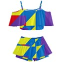 Colorful Red Yellow Blue Purple Kids  Off Shoulder Skirt Bikini View1