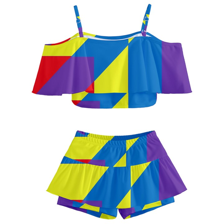 Colorful Red Yellow Blue Purple Kids  Off Shoulder Skirt Bikini