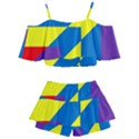 Colorful Red Yellow Blue Purple Kids  Off Shoulder Skirt Bikini View2