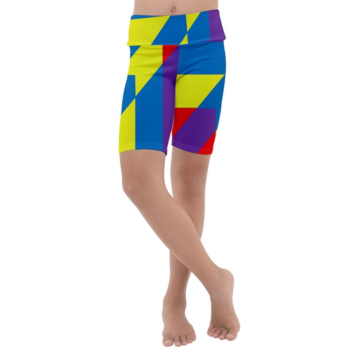 Colorful Red Yellow Blue Purple Kids  Lightweight Velour Cropped Yoga Leggings