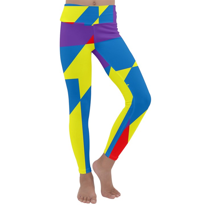 Colorful Red Yellow Blue Purple Kids  Lightweight Velour Classic Yoga Leggings