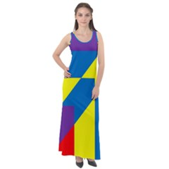 Colorful Red Yellow Blue Purple Sleeveless Velour Maxi Dress