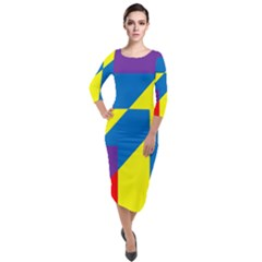 Colorful Red Yellow Blue Purple Quarter Sleeve Midi Velour Bodycon Dress by Sapixe