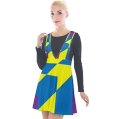 Colorful Red Yellow Blue Purple Plunge Pinafore Velour Dress by Sapixe