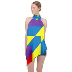 Colorful Red Yellow Blue Purple Halter Asymmetric Satin Top