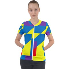 Colorful Red Yellow Blue Purple Short Sleeve Zip Up Jacket